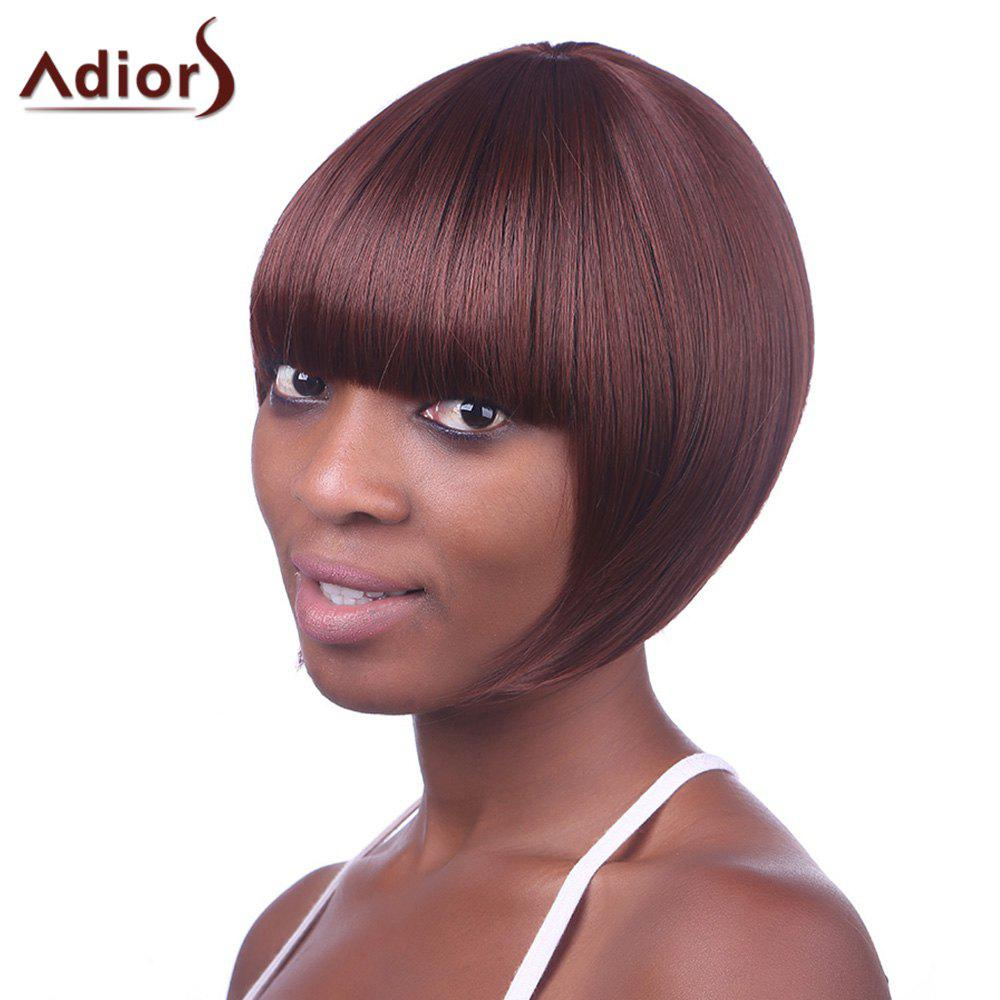 Stylish Sexy Hairstyle Full Bang Fluffy Wine Red Short Straight Capless Synthetic Women's Bob Wig