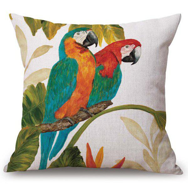 Chic Parrots Pattern Square Shape Flax Pillowcase (Without Pillow Inner) - COLORMIX