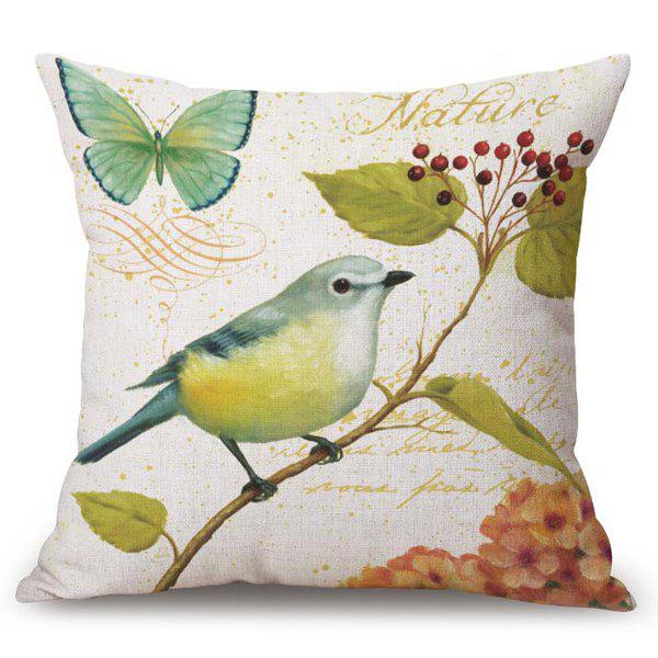 Chic Flower Bird Pattern Square Shape Flax Pillowcase (Without Pillow Inner) - COLORMIX