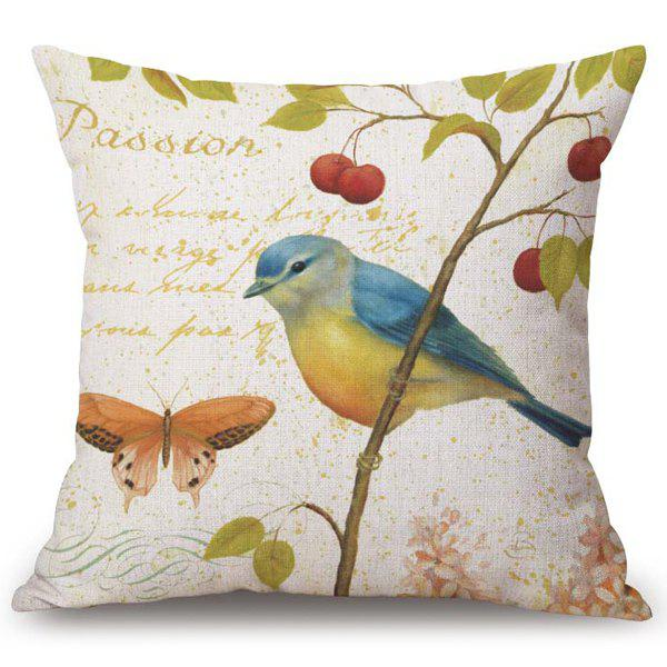Chic Flower and Bird Pattern Square Shape Flax Pillowcase (Without Pillow Inner) -  COLORMIX