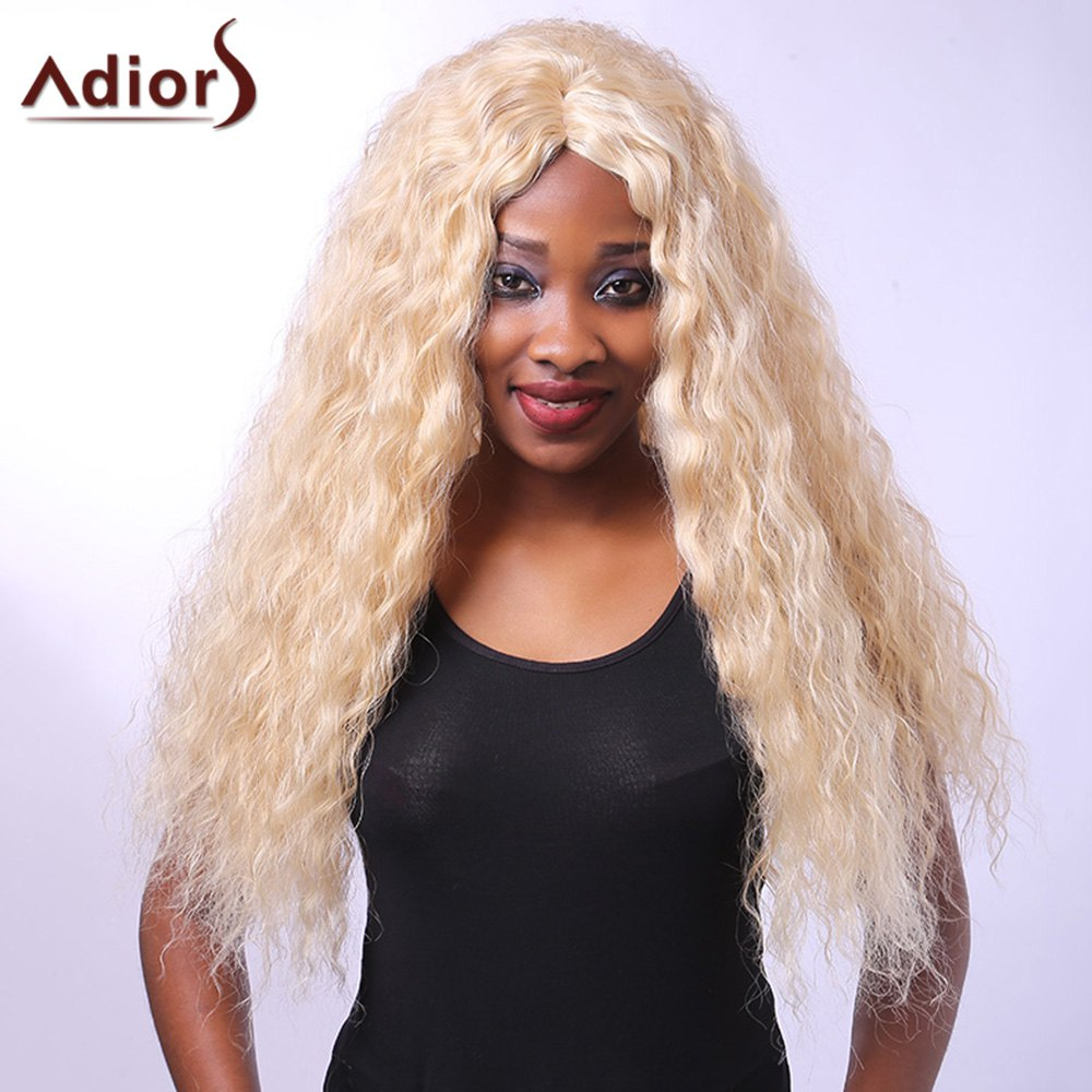 Heat-Resistant Outstanding Long Afro Curly Synthetic Capless Vogue Women's Blonde Wig - COLORMIX