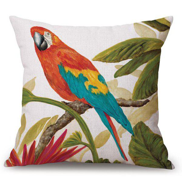 Chic Parrot Pattern Square Shape Flax Pillowcase (Without Pillow Inner) - COLORMIX