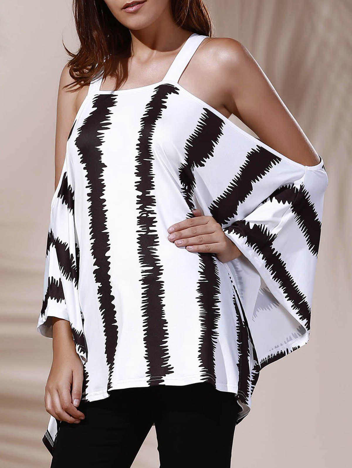 Trendy Loose-Fitting Cut Out Striped Women's T-Shirt - WHITE/BLACK ONE SIZE(FIT SIZE XS TO M)