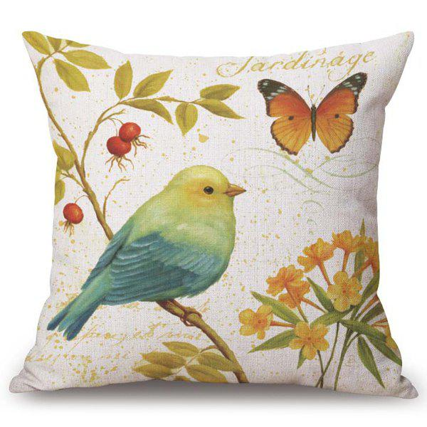 Casual Flower and Bird Pattern Square Shape Flax Pillowcase (Without Pillow Inner)