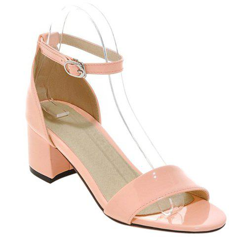 Trendy Patent Leather and Solid Colour Design Women's Sandals - PINK 38