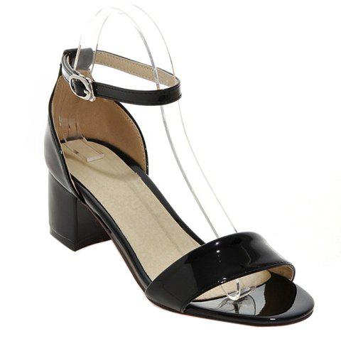 Trendy Patent Leather and Solid Colour Design Women's Sandals - BLACK 36