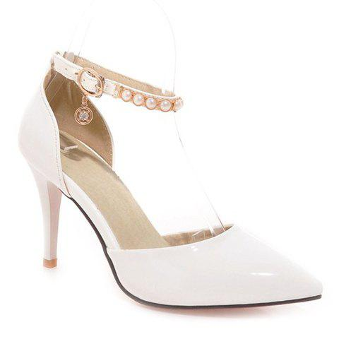 Elegant Pointed Toe and Beading Design Women's Pumps - WHITE 35