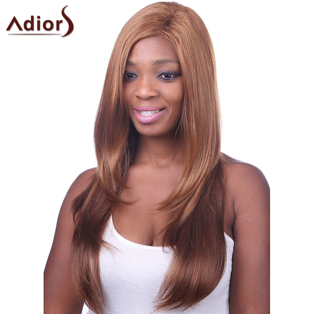Trendy Gold Brown to Deep Brown Ombre Long Straight Side Bang Charming Women's Capless Wig