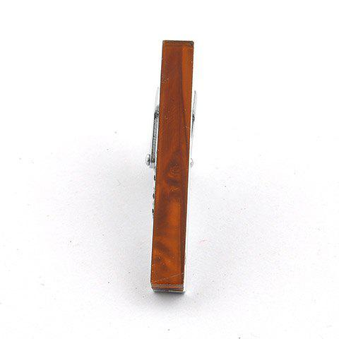 Stylish Narrow Wooden Grain Rectangle Embellished Men's Alloy Tie Clip - BROWN