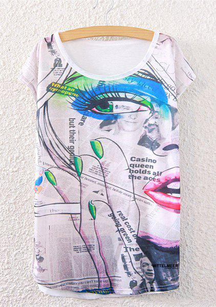 Fashionable Women's Short Sleeve Newspaper and Eye Print T-Shirt