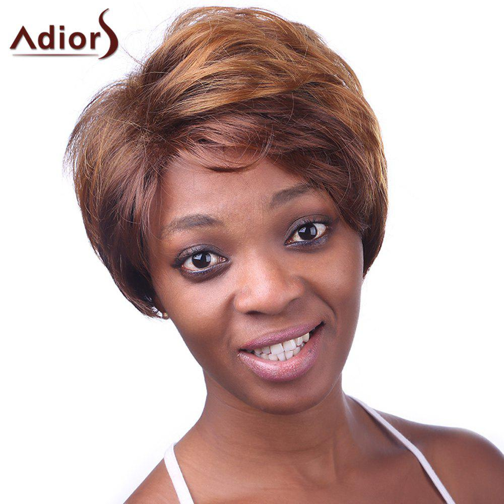 Fluffy Natural Wave Elegant Short Side Bang Synthetic Vogue Brown Mixed Women's Wig - BLACK/BROWN