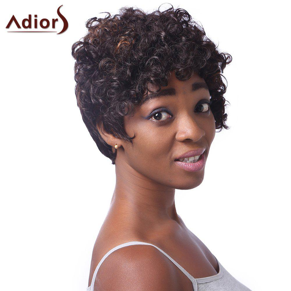 Fluffy Curly Spiffy Short Haircut Capless Stunning Brown Women's Highlight Synthetic  Wig