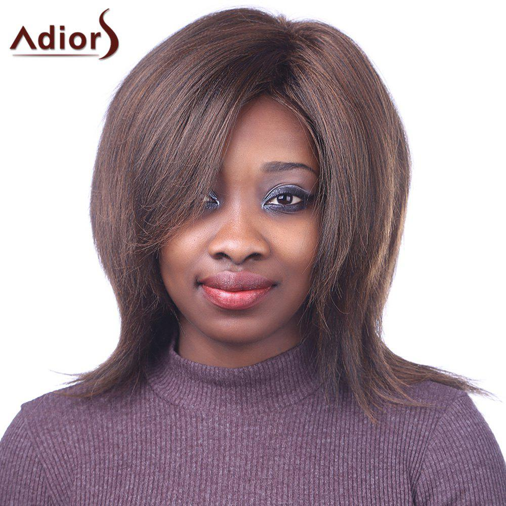 Outstanding Centre Parting Bouffant Straight Synthetic Fashion Medium Brown Mixed Women's Capless Wig centre speaker