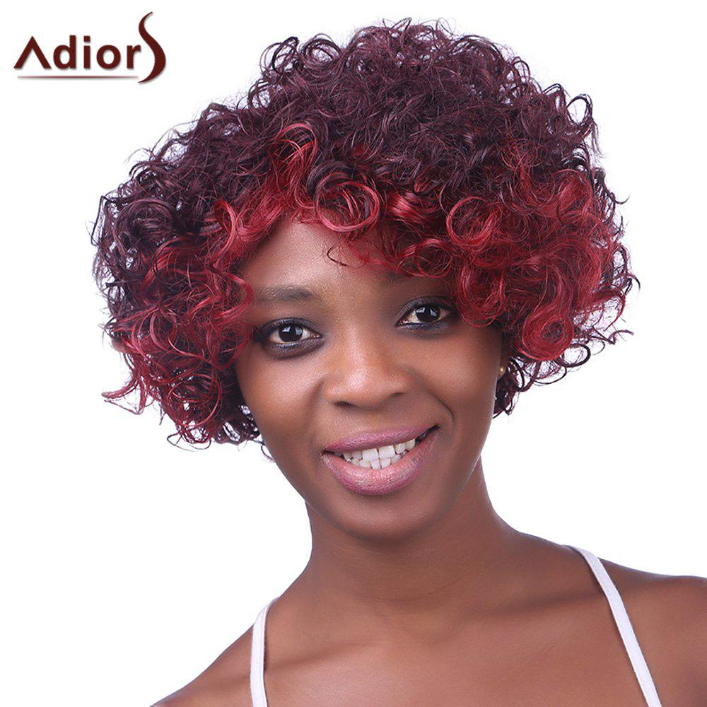 Fashion Red Ombre Claret Synthetic Gorgeous Inclined Bang Fluffy Curly Wig For Women - OMBRE