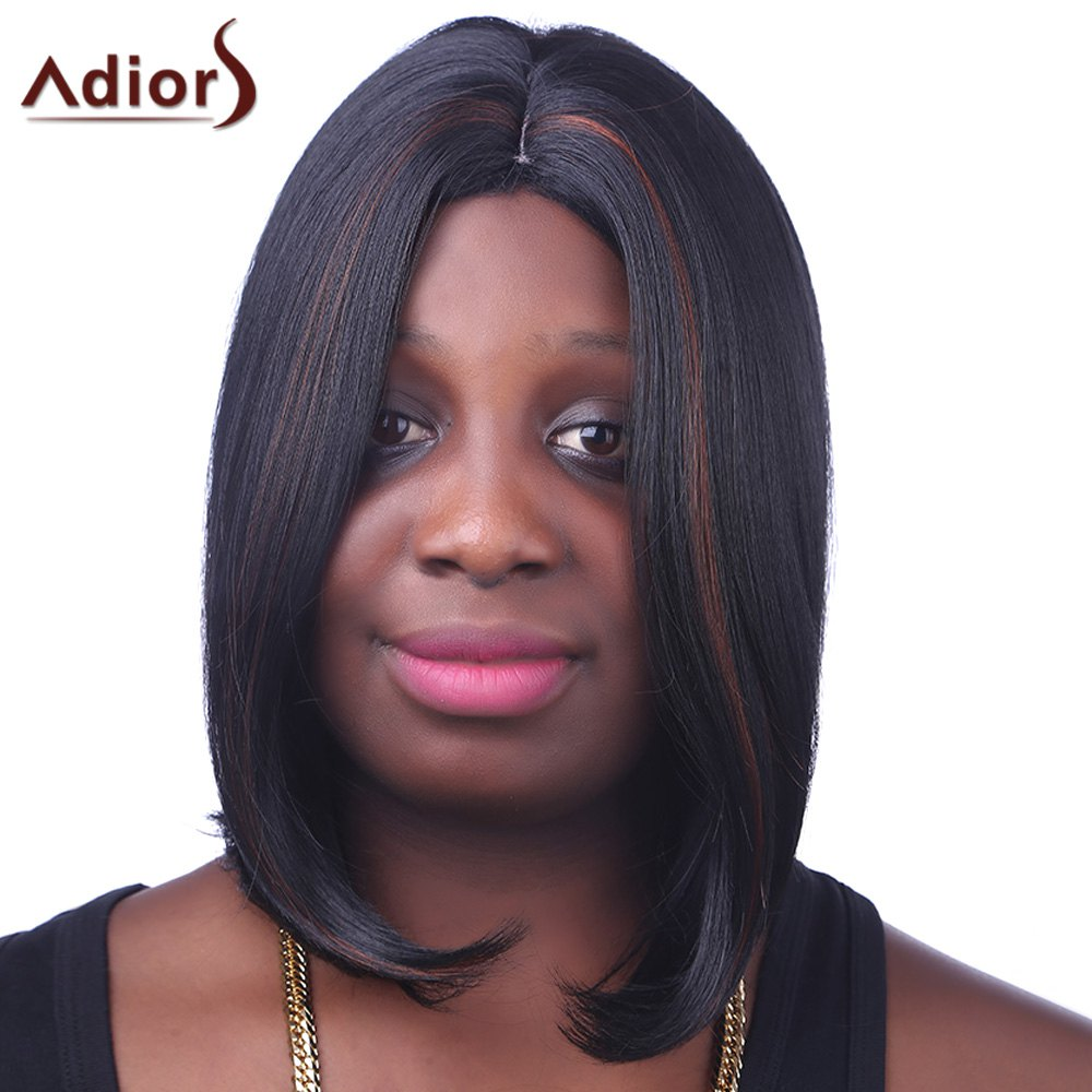 Fashion Brown Highlight Medium Synthetic Straight Bob Style Centre Parting Wig For Women - COLORMIX