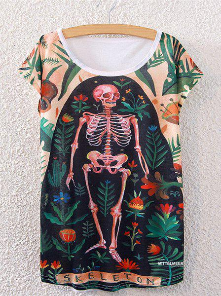 Fashionable Women's Short Sleeve Human Skeleton and Floral Print T-Shirt