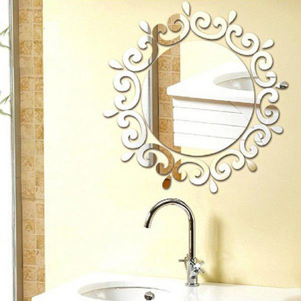 Chic Sun Flower Shape Mirror Wall Stickers For Livingroom Bedroom Decoration - SILVER