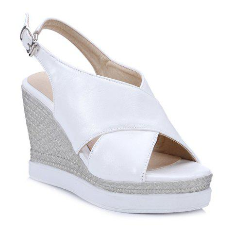 Espadrille Wedge Slingback Sandals - WHITE 38