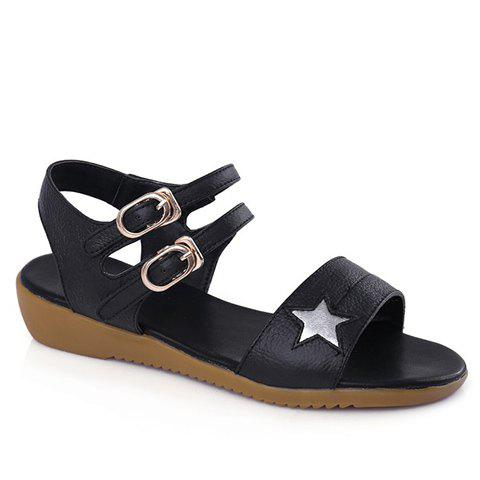 Sweet Star Pattern and Double Buckle Design Women's Sandals - BLACK 36