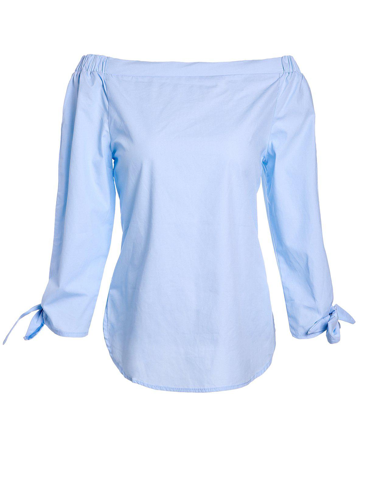 Trendy Pure Color Slash Neck 3/4 Sleeve Blouse For Women - AZURE S