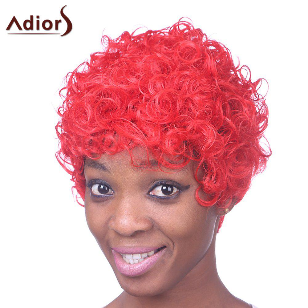 Fashion Short Red Capless Fluffy Curly Inclined Bang Women's Heat Resistant Fiber Wig - RED