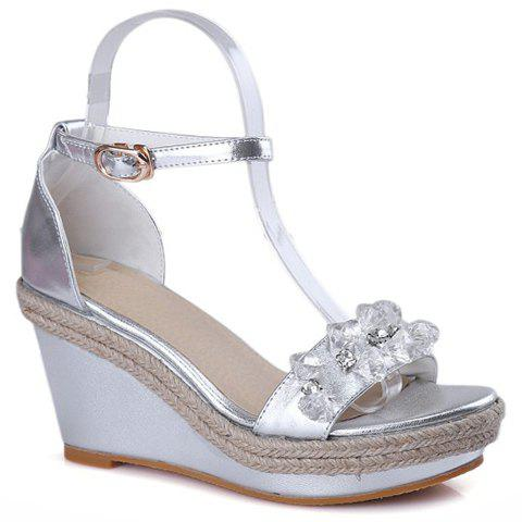 Fashionable Crystals and Weaving Design Women's Sandals - SILVER 39