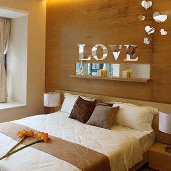 Chic Love Heart Shape Mirror Wall Stickers For Livingroom Bedroom Decoration - SILVER