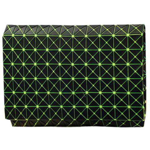 Stylish Checked and Black Design Women's Clutch Bag - GREEN
