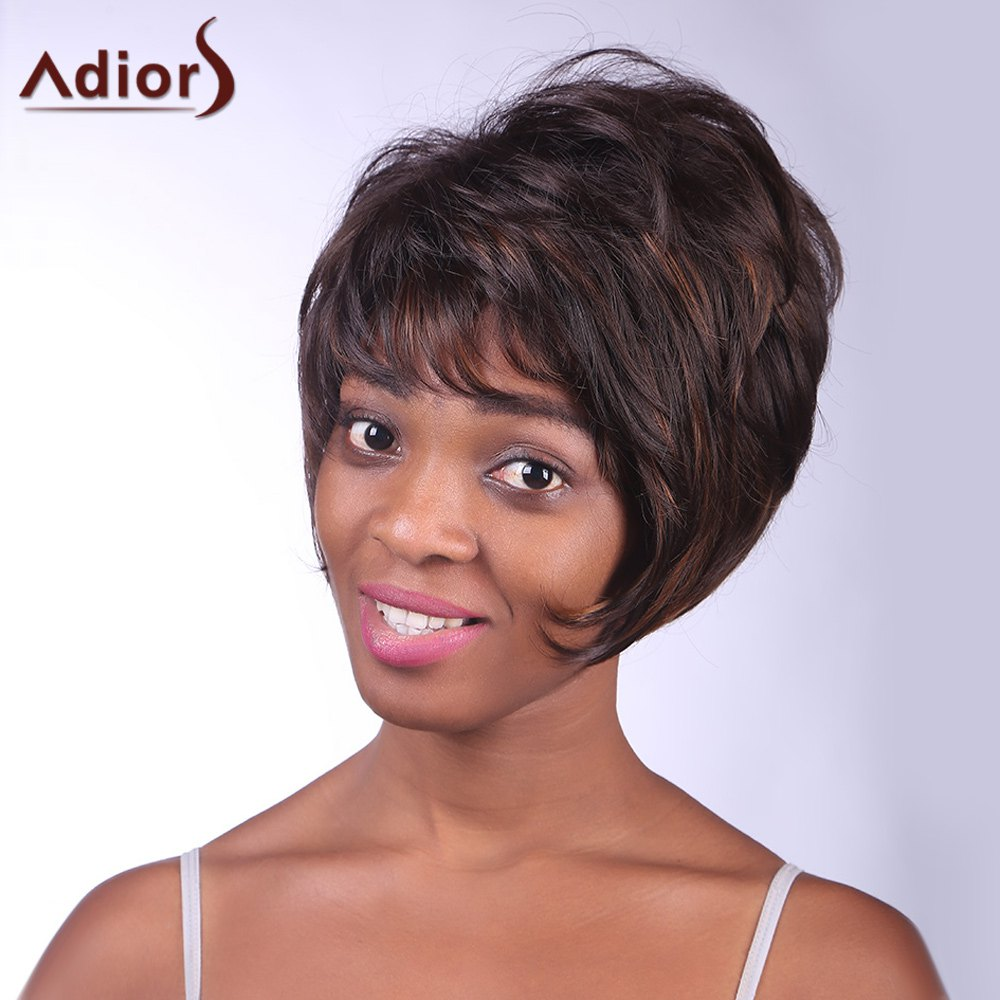 Trendy Synthetic Brown Mixed Black Fluffy Short Straight Side Bang Charming Women's Capless Wig