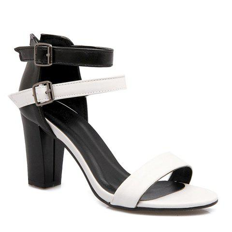 Elegant Color Block and Chunky Heel Design Women's Sandals - WHITE 39