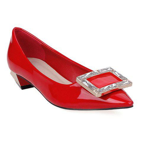 Fashion Metal and Pointed Toe Design Women's Flat Shoes - RED 39