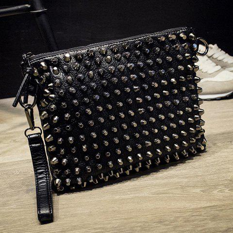Punk Studded and Black Design Women's Clutch Bag - BLACK