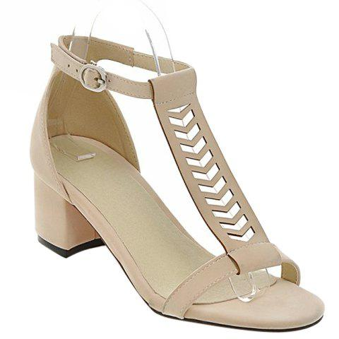 Leisure T-Strap and Chunky Heel Design Women's Sandals - 38 OFF WHITE