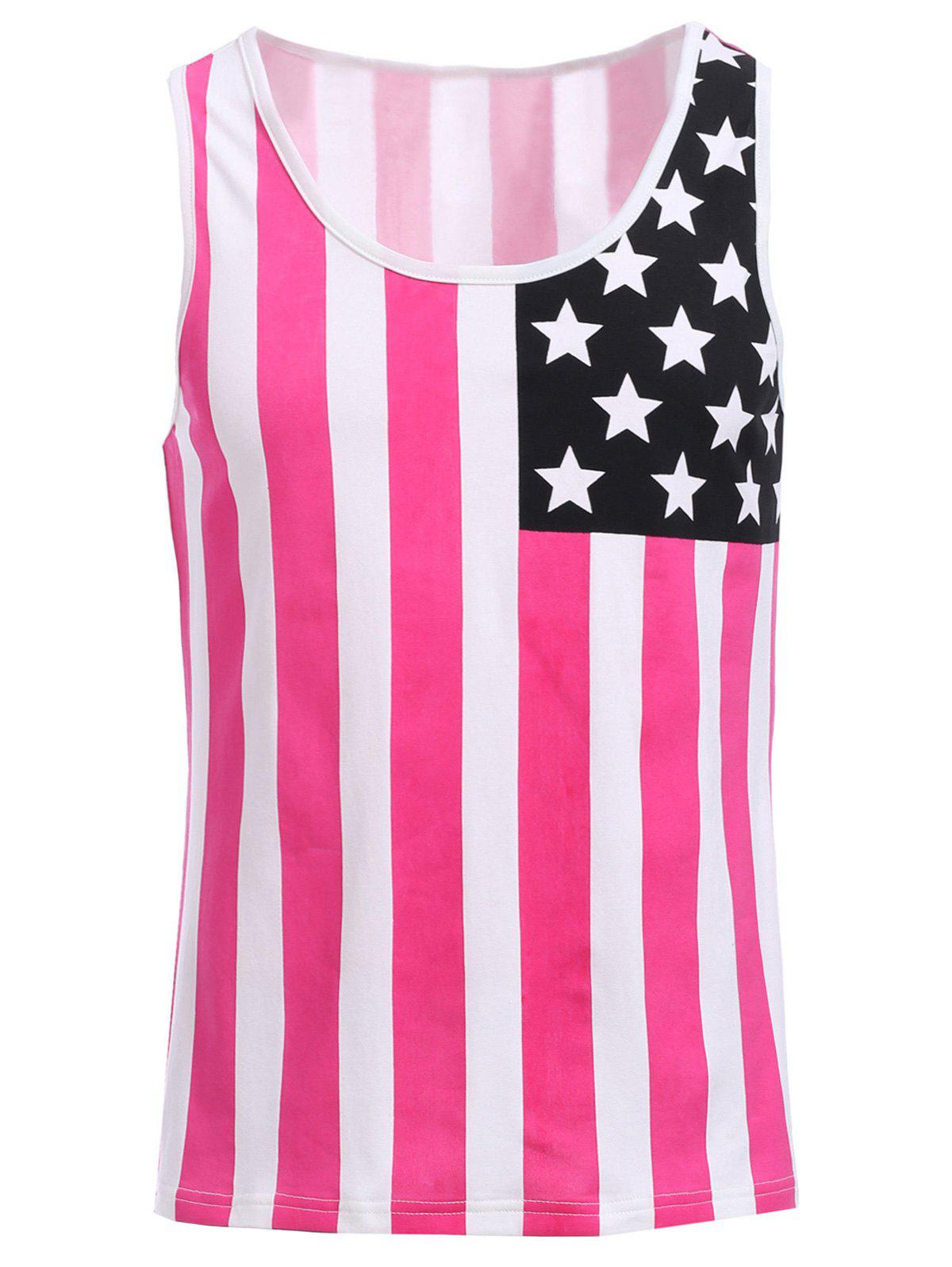 Fashion Round Neck American Flag Print Men's Hit Color Tank Top - RED M