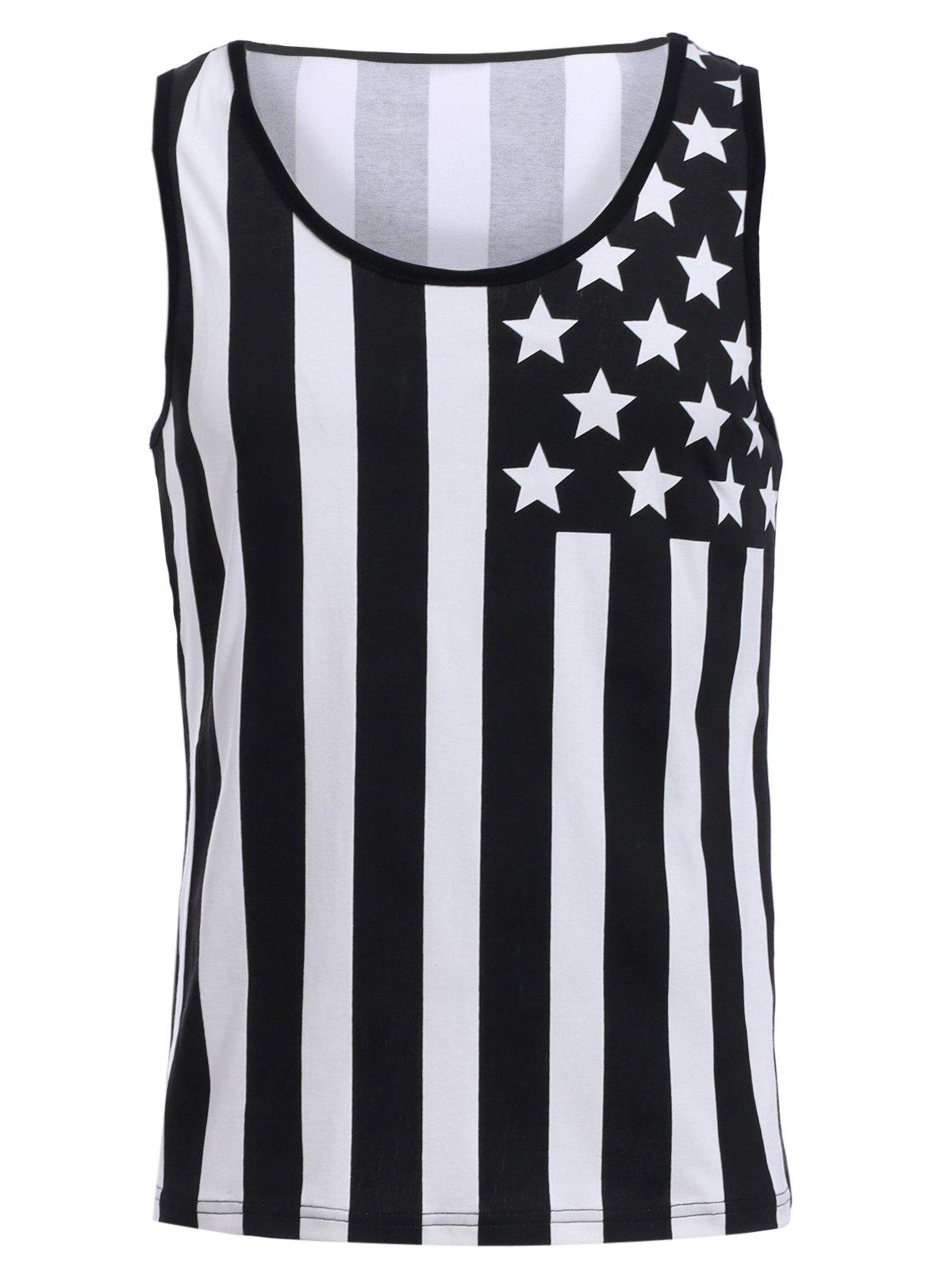 Fashion Round Neck American Flag Print Men's Hit Color Tank Top - BLACK L