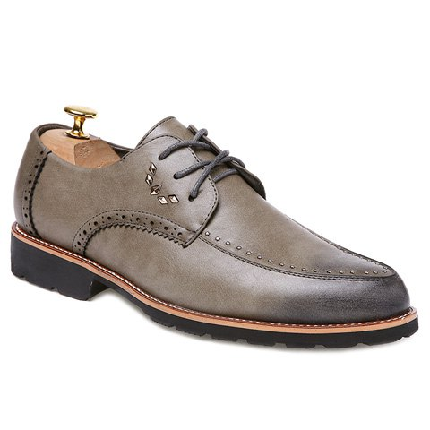 Stylish Engraving and Solid Color Design Men's Formal Shoes - KHAKI 40