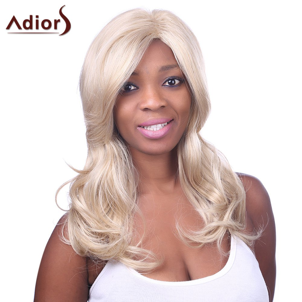Fluffy Wave Synthetic Charming Long Light Blonde Mixed Adiors Wig For Women - COLORMIX