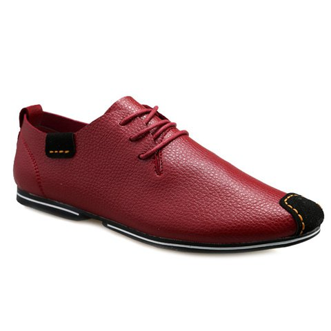 Simple Splicing and Lace-Up Design Men's Casual Shoes - RED 40
