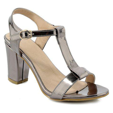 Fashion Solid Color and T-Strap Design Women's Sandals - 34 SILVER GRAY