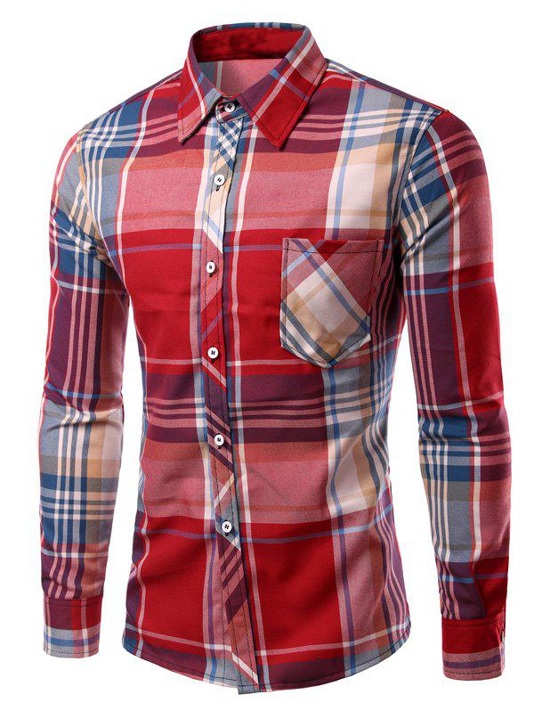 Long Sleeve Checked Print Turn-Down Collar Men's Shirt - RED L