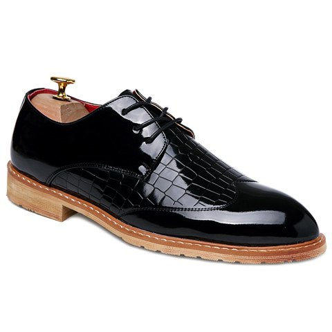 Trendy Patent Leather and Embossing Design Men's Formal Shoes - BLACK 42
