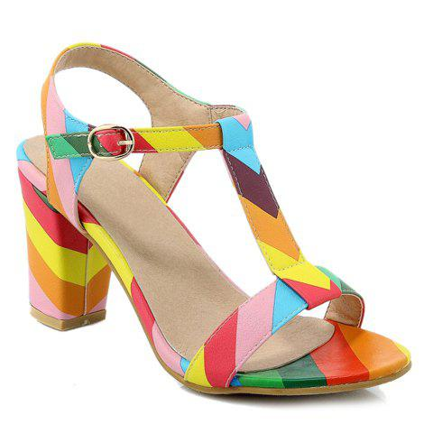 Color Block T-Strap Chunky Heel Sandals - COLORMIX 34