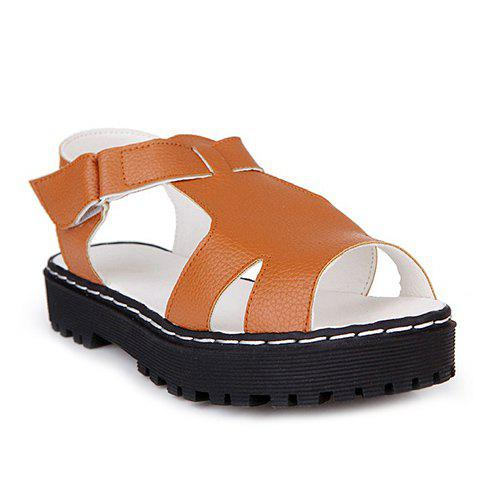 Concise  and PU Leather Design Women's Sandals - YELLOW 37