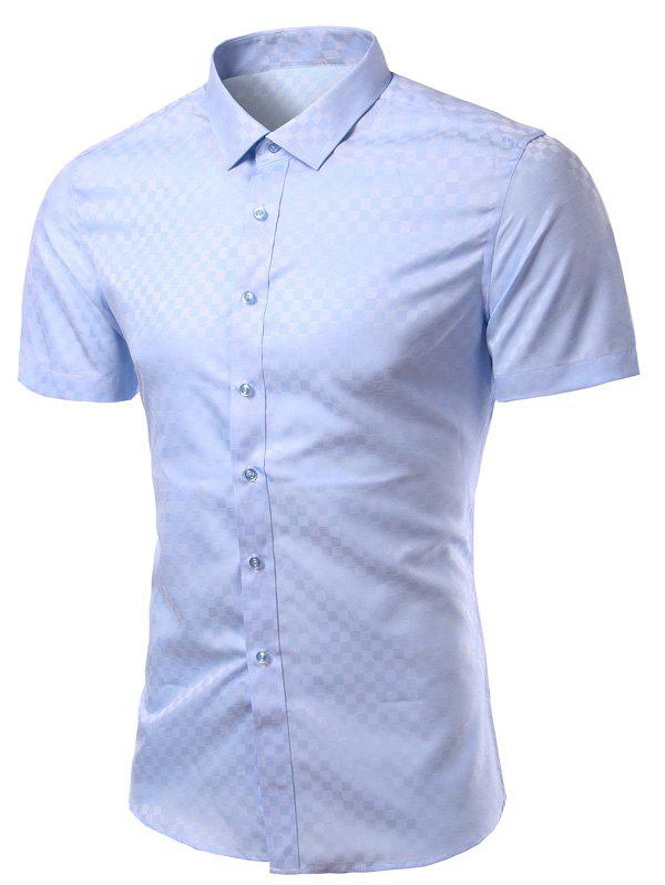 Checked Solid Color Turn-Down Collar Short Sleeve Men's Shirt - BLUE L