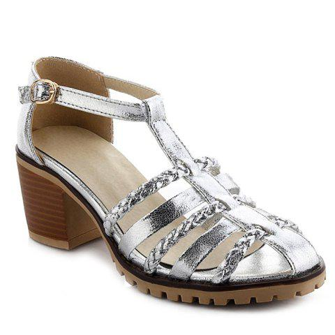 Casual Chunky Heel and Weaving Design Women's Sandals - SILVER 36