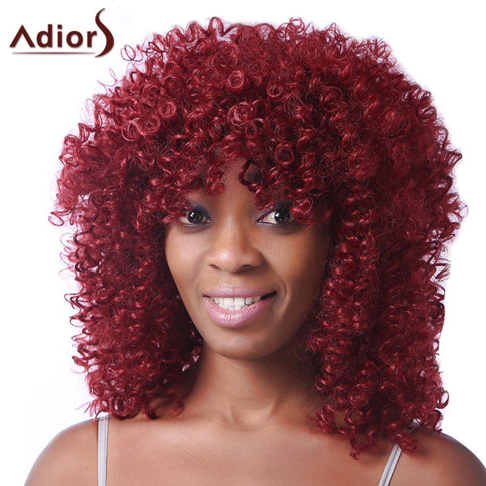 Trendy Red Medium Synthetic Fluffy Afro Curly Womens Capless Wig