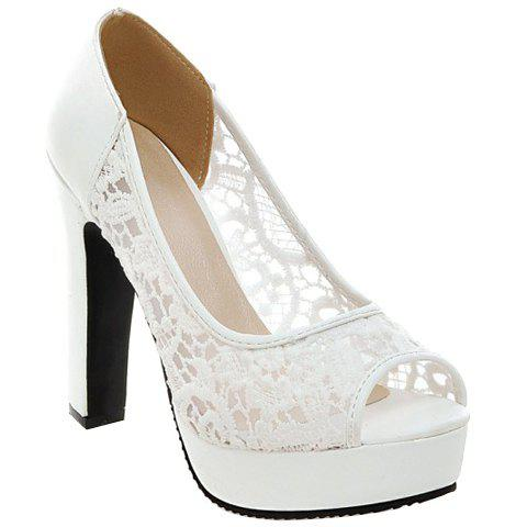 Gauze mode et conception de broderie femme d  'Peep Toe Shoes - Blanc 38
