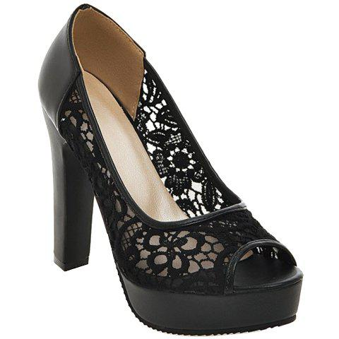 Fashionable Gauze and Embroidery Design Women's Peep Toe Shoes - BLACK 37