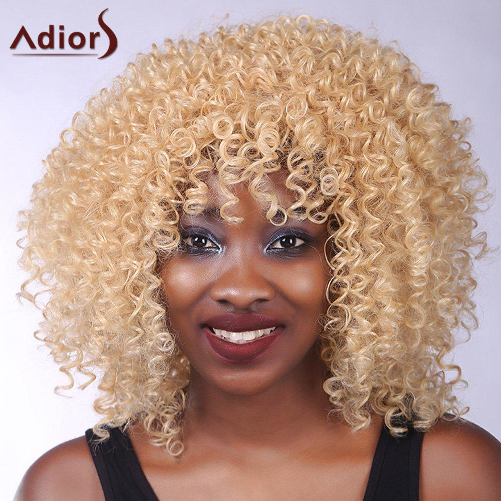 Vogue Blonde Meduim Capless Shaggy Curly Heat Resistant Synthetic Adiors Wig For Women -  GOLDEN