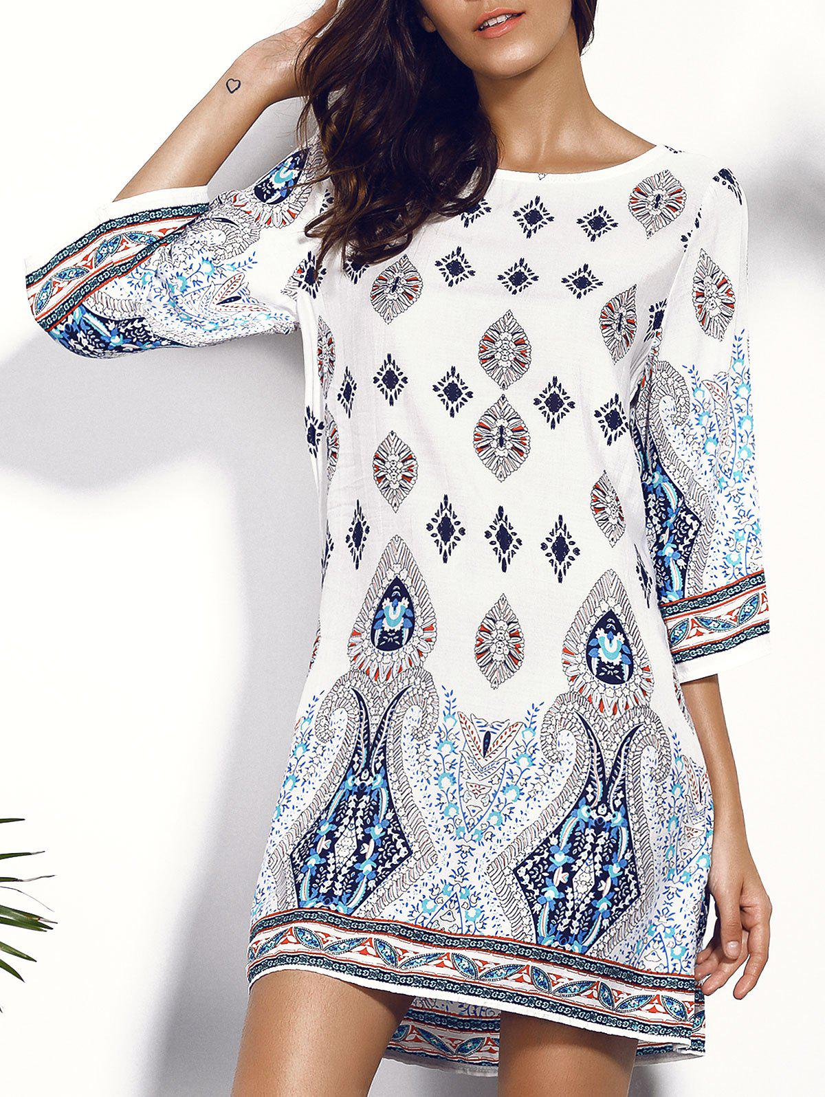 Casual Women's Scoop Neck Floral Print Hollow Out Dress